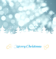 Christmas greeting card against light circles on blue background