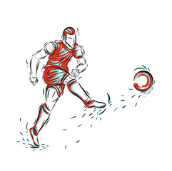 Football player vector by hand drawing.Soccer sport sketch on white background.Player sport for coloring book.