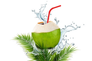 Coconut water with splashing liquid