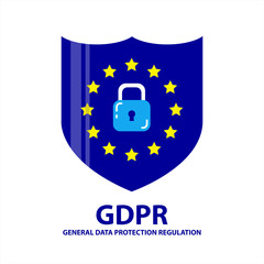 GDPR - General Data Protection Regulation, vector shield icon