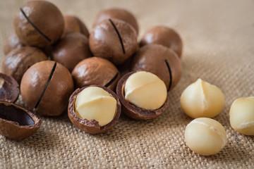 Macadamia nuts on sackcloth