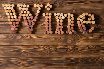 Decorative wine corks spelling the word Wine