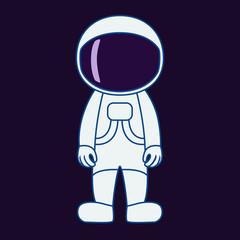 Astronaut in cartoon style. Spaceman isolated on dark background. Vector illustration