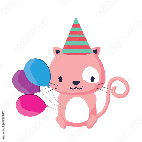 Happy Birthday Design With Cute Cat Hat And Balloons Over White Background Colorful Vector Illustration Stock Image