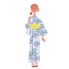 浴衣を着る女性 イラスト