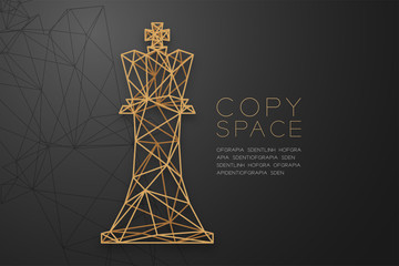 Chess Queen wireframe Polygon golden frame structure, Business strategy concept design illustration isolated on black gradient background with copy space, vector eps 10