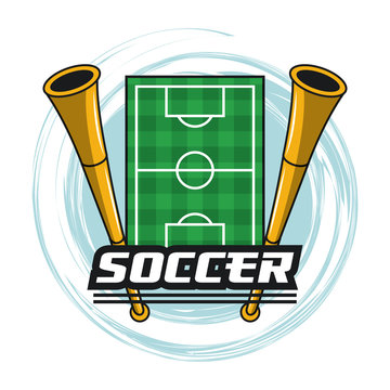 Soccer camp field and horns vector illustration graphic design