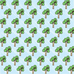 background with tree plants pattern, colorful design. vector illustration