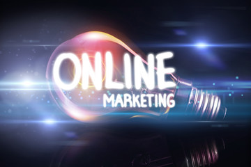 online marketing against glowing light bulb