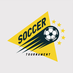 Soccer football tournament logo, emblem designs templates on a light background.
