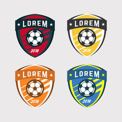 Soccer Logo or Football Club Sign Badge Set.