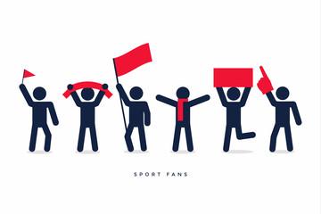 Stick figures of sport fans cheering team.