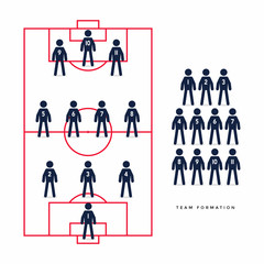 Stick Figures of Soccer or Football Player in Formation.