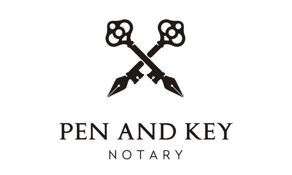 Crossed Pen Skeleton Door Key for vintage classic notary house estate logo design