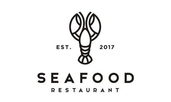 Seafood Lobster Crayfish Prawn Shrimp Crab vintage luxury logo design