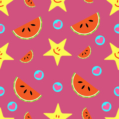 Summer Seamless pattern of smiling stars, watermelon slices and hearts on pink background.Vector