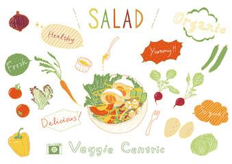 手書き風 サラダ 野菜セット