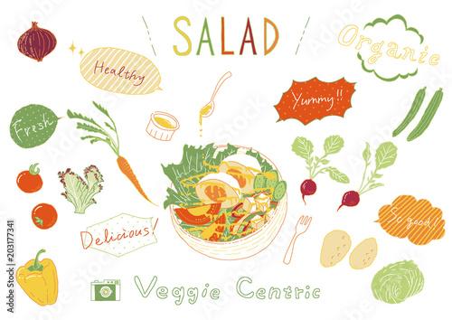 手書き風 サラダ 野菜セットfotoliacom の ストック画像とロイヤリティ