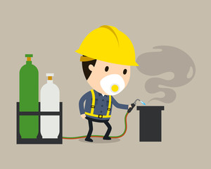 Welding work, Vector illustration, Safety and accident, Industrial safety cartoon