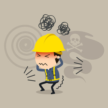 Stress builds up, Vector illustration, Safety and accident, Industrial safety cartoon