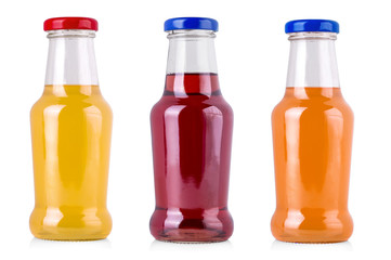 three juice bottles isolated on white background with clipping path.