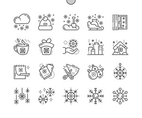 Snowflakes Well-crafted Pixel Perfect Vector Thin Line Icons 30 2x Grid for Web Graphics and Apps. Simple Minimal Pictogram
