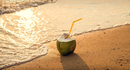 Coconut on the beach, in the waves. Sunset.
