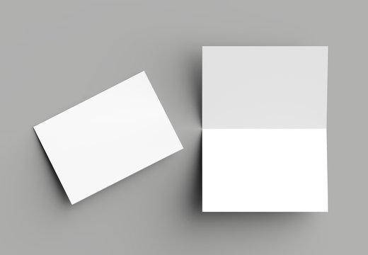Bi fold vertical - landscape brochure or invitation mock up isolated on gray background.