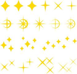 キラキラ、輝きのイラストセット