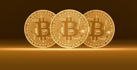 Three golden bitcoins on a brown background. 3d render illustration.