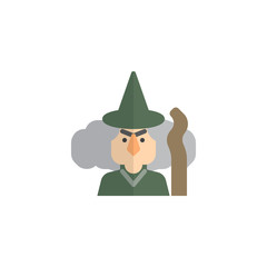 Witch with broomstick flat icon, vector sign, colorful pictogram isolated on white. Halloween symbol, logo illustration. Flat style design