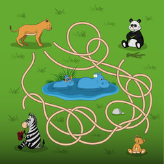 Help the lioness to find baby in the maze. Kid's game: search the correct way. Animals of  zoo. Vector illustration