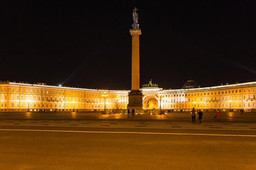 view of Palace Square and General Staff in night