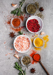 Different kind of spices in bowls