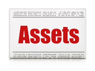 Banking concept: newspaper headline Assets on White background, 3D rendering