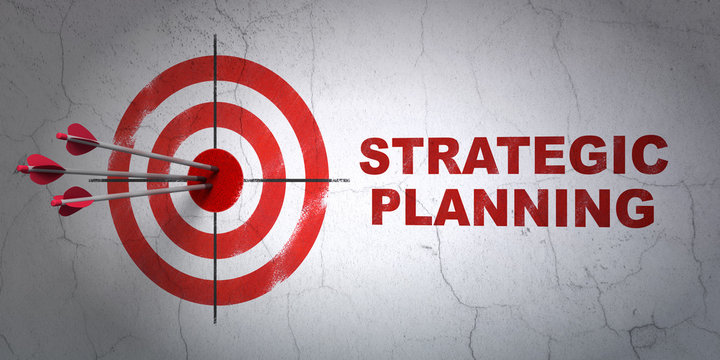 Success finance concept: arrows hitting the center of target, Red Strategic Planning on wall background, 3D rendering