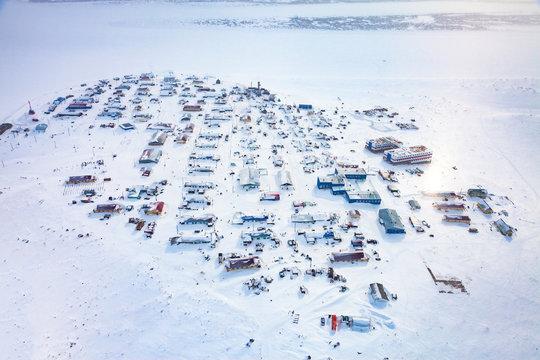 National Nenets reindeer herding village Nosok in the north Krasnoyarsk region, aerial view