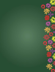 hand drawn flowers border on green background