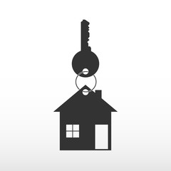 Key with house. Purchase house, purchase of real estate. Logo realtor.