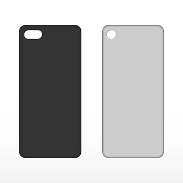 Case mockup. Blank black and white phone case.