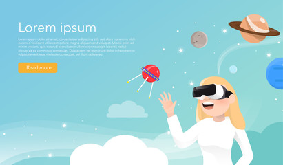 Women wearing virtual reality glasses in universe concept