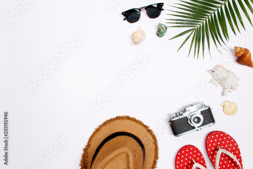 098754fe Traveler accessories, tropical palm leaf branches on white background with  empty space for text. Travel vacation concept. Summer background. Flat lay  ...