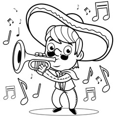 Mexican mariachi man playing the trumpet. Black and white coloring book page