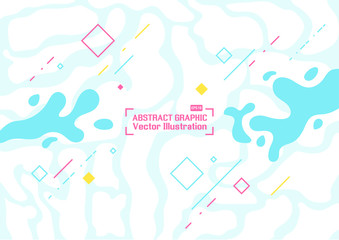 Abstract background composition of geometric shapes and wave splash. Vector illustration