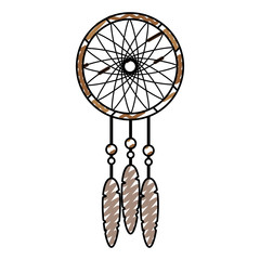 doodle dream catcher with feather and ornament decoration