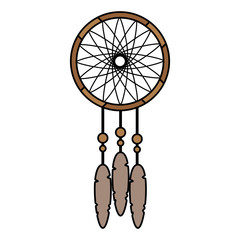 color dream catcher with feather and ornament decoration