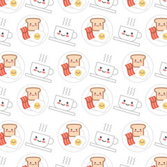 delicious dish of food with hot coffee pattern kawaii character vector illustration design