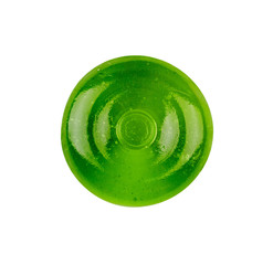 green round Lollipop isolated on white background, top view