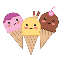 ice creams in cone with smile kawaii character vector illustration design