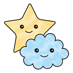 cute star with cloud kawaii character vector illustration design